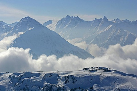 Ski area, Mayrhofen-Penken, Zillertal, Tyrol, Austria