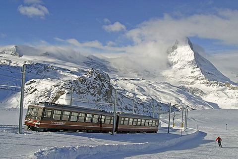 Ski resort Zermatt, Gornergrat-train next to the piste with Matterhorn, Valais, Switzerland
