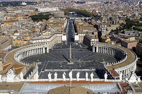 View of Rome, Peter's Square from the cupola of the Dome of St.Peter, Vatican City, Rome, Latium, Italy
