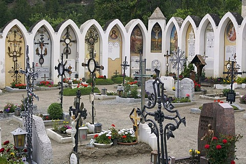 Graves at the cemetery in Laatsch, Vinschgau, Province of Bozen, Trentino-South Tyrol, Italy