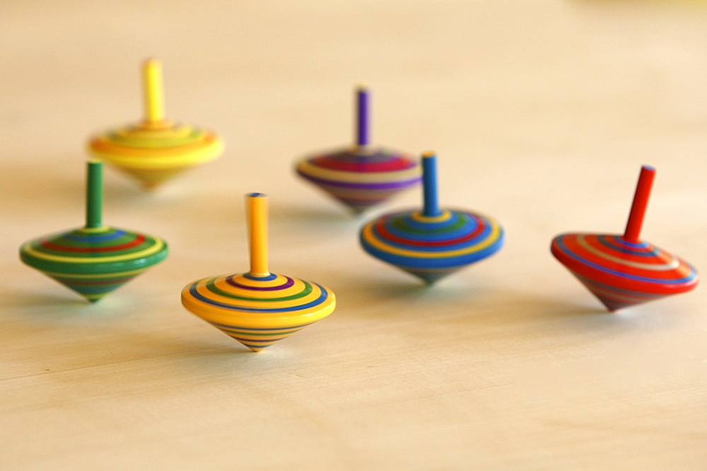 Colourful spinning tops