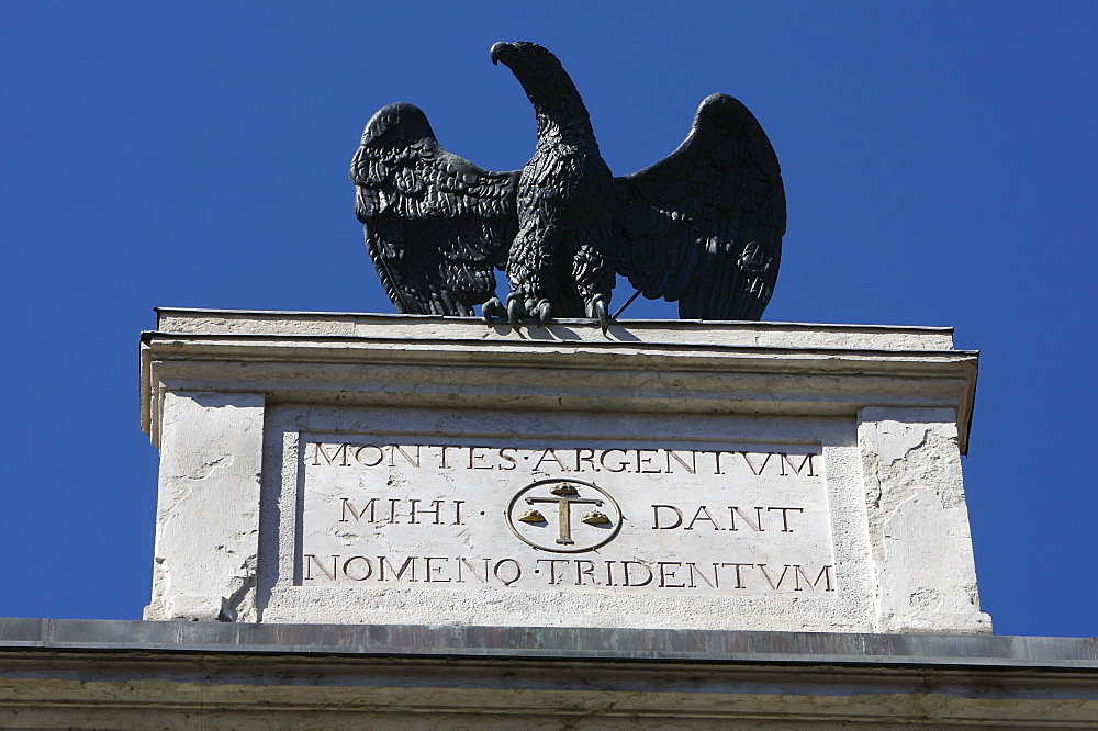 Bronze eagle on a rooftop in Trento, Northern Italy, Europe