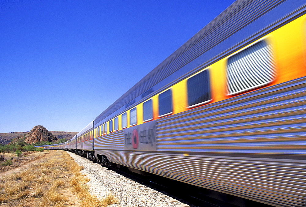 """The Ghan""""on the railway section close to Alice Springs, Red Centre, Northern Territory, Australia"""