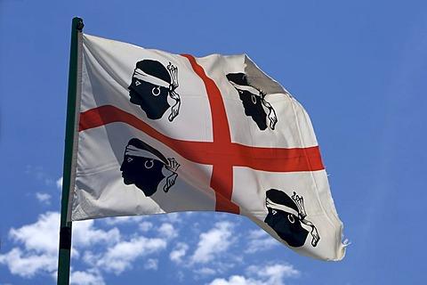 Sardinian flag, Sardinia, Italy, Europe