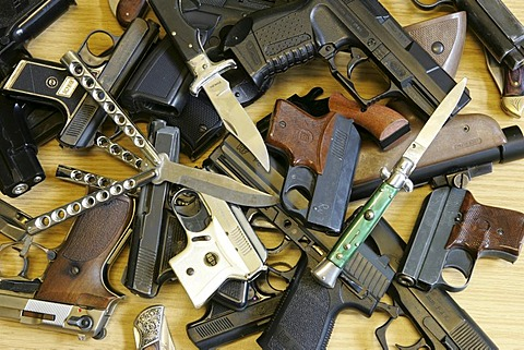 DEU, Germany : Illegal weapons, knifes, confiscate from young people.