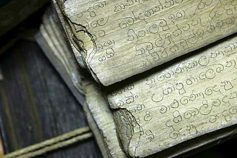 LKA, Sri Lanka : Old scrips on palmleave, vellum, parchment paper, with traditionel ayurvedic recipes