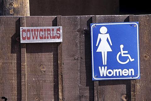USA, United States of America, Arizona: Toilet sign in the Old Tucson Studios theme park.