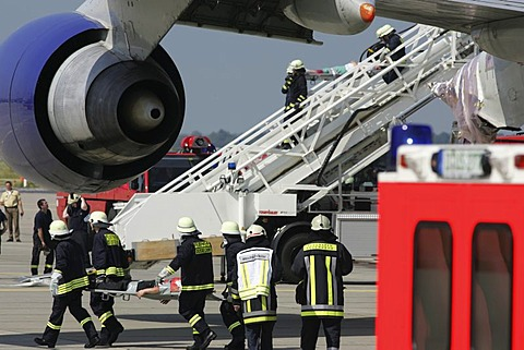 DEU, Germany, Duesseldorf: Emergency exercise at the Duesseldorf International airport.