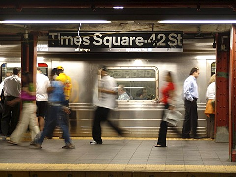 USA, United States of America, New York City: New York Subway. Subway station imes Square, 42nd Street.