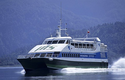 "CHL, Chile, Patagonia: the ""Patagonia Connection"", the catamaran ""Patagonia Express""."