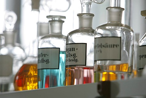 DEU, Germany: Bottles, apparatus, chemical in a chemical laboratory.