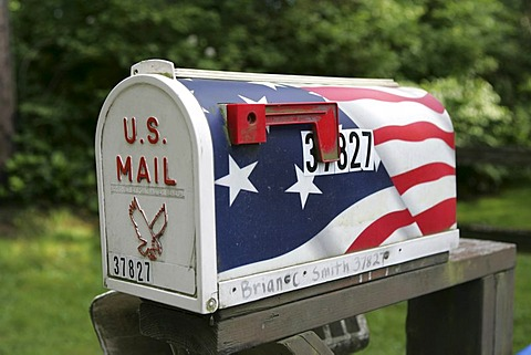 USA, United States of America : Typical american mailbox, stars and stripes, national flag design.