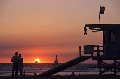 USA, United States of America, California: sunset, Venice Beach, Los Angeles.