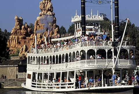 USA, United States of America, California: Disneyland, the Mark Twain paddle steamer.