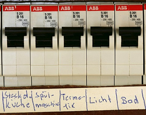 DEU, Germany : Electricity fuse, automatic cutout, in a private house.