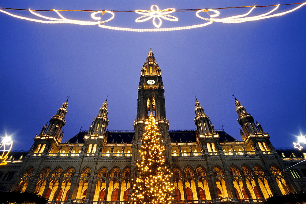 Illuminated city hall building, Christmas decorations, evening, Vienna, Austria, Europe