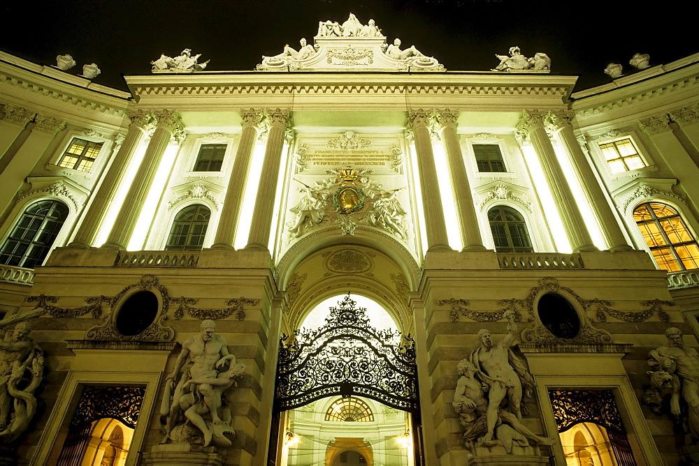 Michaelertor (Michael's Gate) and the Hofburg at night, Vienna, Austria, Europe