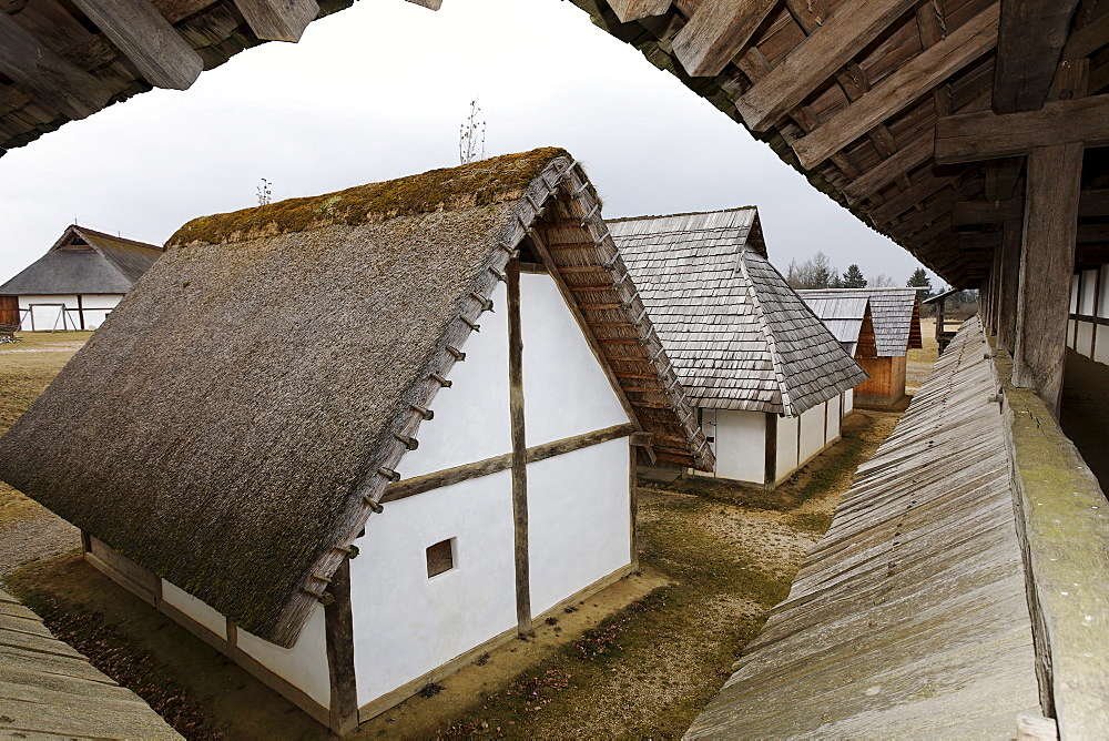 Open-air museum Heuneburg, reconstruction of a celtic settlement, Herbertingen-Hundersingen, Riedlingen, Upper Schwabia, Baden-Wuerttemberg, Germany, Europe