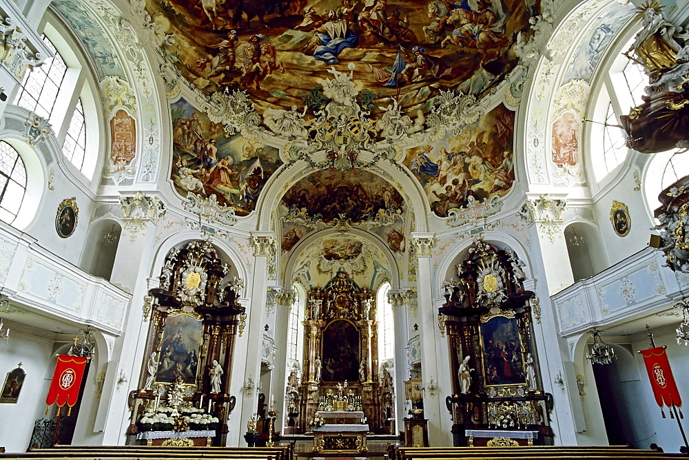 St. Katharina Church, Baroque parish church designed by Johann Georg Fischer, Wolfegg, Upper Swabia, Baden-Wuerttemberg, Germany, Europe
