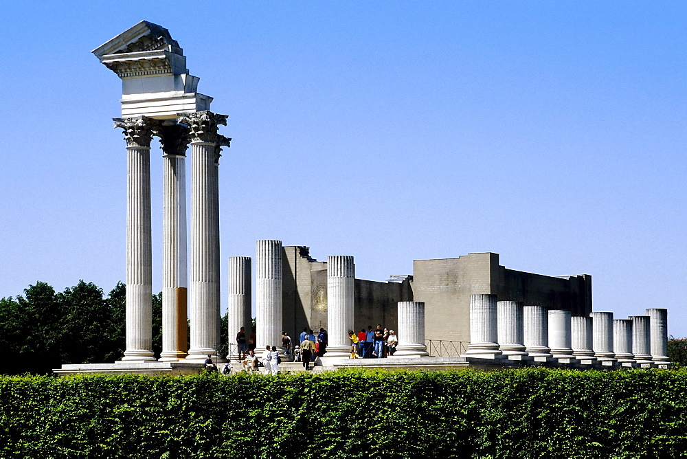 Roman harbour temple reconstruction, Xanten Archaeological Park, Lower Rhine, North Rhine-Westphalia, Germany, Europe