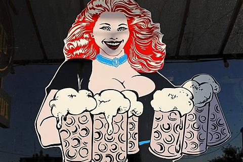Large-breasted waitress carrying beer jugs, drawn figure on a windowpane, ostalgie tavern Zur Molle, Seebad Bansin, Usedom Island, Mecklenburg-Western Pomerania, Germany, Europe