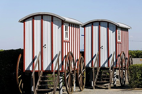 Replicas of historic bathing carts, Bansin seaside resort, Usedom Island, Baltic Sea, Mecklenburg-Western Pomerania, Germany, Europe