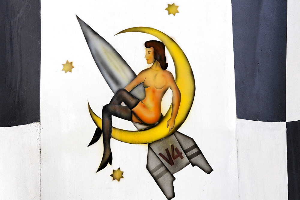 Woman on the moon, original emblem on the Nazi A4 rocket reproduction, V4, Peenemuende Historical-Technical-Information Centre, Usedom Island, Mecklenburg-Western Pomerania, Baltic Sea, Germany, Europe