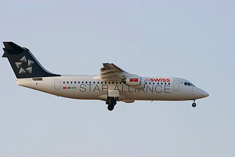 Airplane British Aerospace BAe 146-300 of the Swiss Star Alliance landing