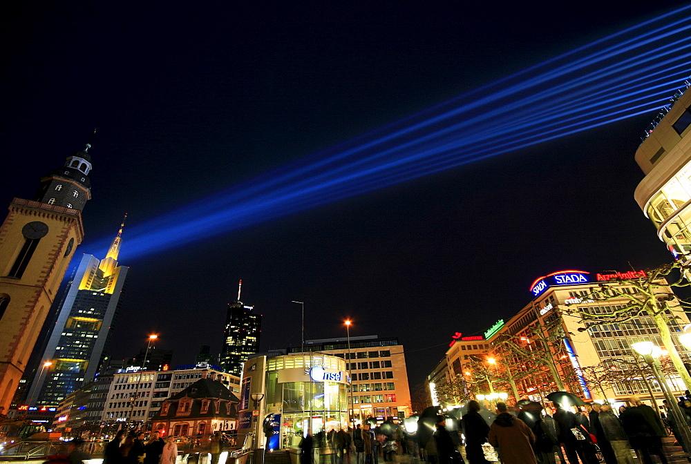 Light beams, Luminale 2008, biannual lighting festival, illuminated multistory buildings in the banking district, Frankfurt, Hesse, Germany