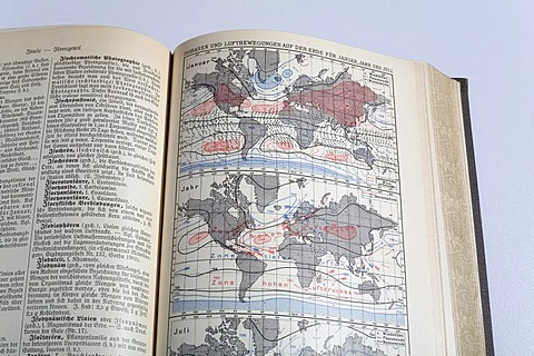 Picture of an isobar world map in an german encyclopedia from 1914