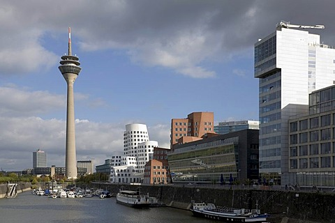 View at the Gehry buildings in the media harbour of Duesseldorf, NRW Germany