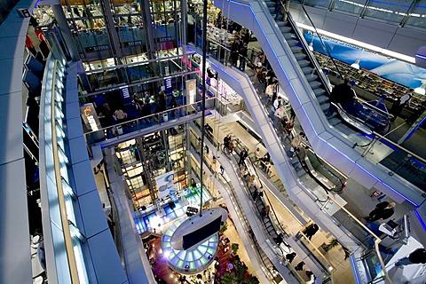 View into the modern shopping mall Sevens, Koenigsalle, Duesseldorf, NRW, Germany