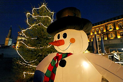 Inflatable lit up snowman at the old part of Duesseldorf, NRW, Germany,