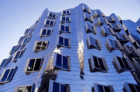 Metallic front of the Gerhry building at Rheinhafen Duesseldorf, NRW, Germany