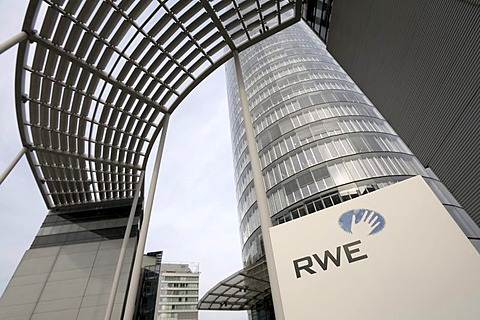 RWE company sign in front of the RWE Tower, called Power Tower, the headquarters of Germanys biggest electricity supplier, Essen, NRW, Germany