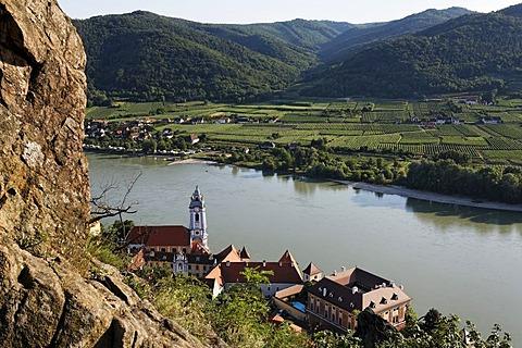 View of Duernstein and Danube, Wachau, Lower Austria, Austria
