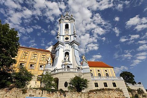 Duernstein, religious foundation and church steeple, Wachau, Lower Austria, Austria