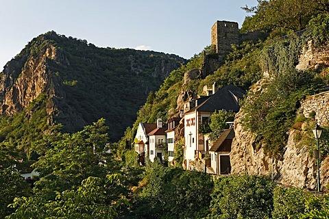 Watchtower and historic houses, Duernstein, Wachau, Lower Austria, Austria