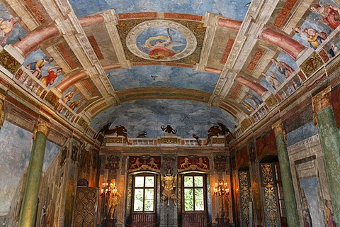 Banqueting hall with Italian wall paintings, castle Hellbrunn, Salzburg, Austria
