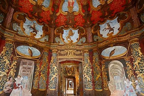 Music room with Italian wall paintings, castle Hellbrunn, Salzburg, Austria