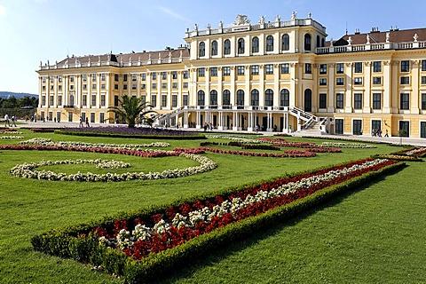 Castle Schoenbrunn, view from the castle grounds, Vienna, Austria