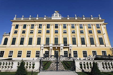 Castle Schoenbrunn, left wing, view from the castle grounds, Vienna, Austria