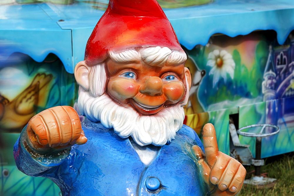 Big garden gnome, figure at a funride, Rhine funfair, Duesseldorf, NRW, Germany