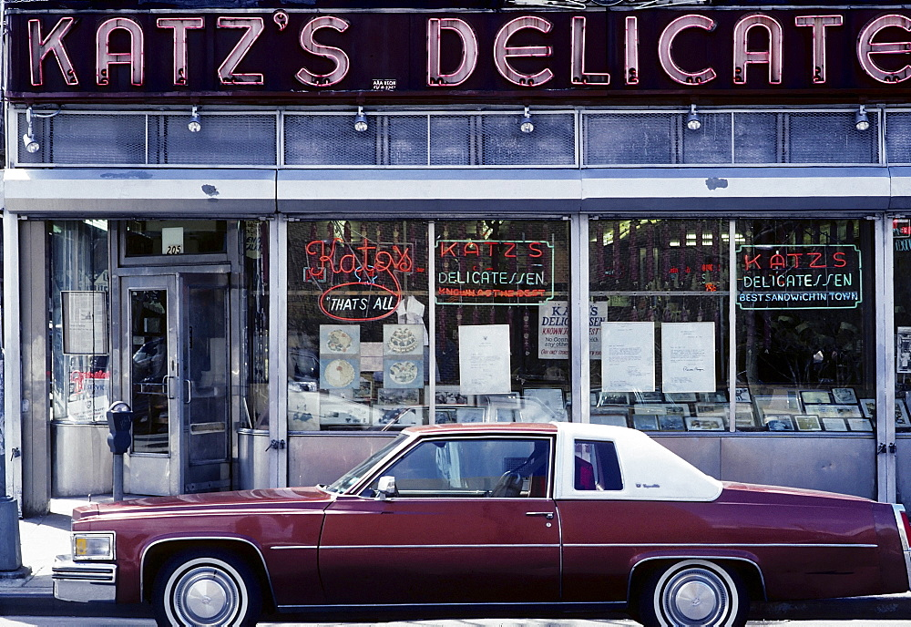 Front of a traditional Deli, Lower East Side, New York City, USA