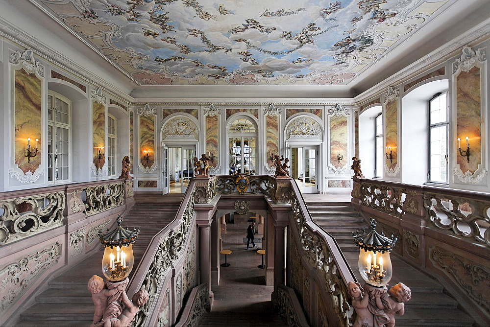 Palace of the prince elector, rococo staircase, Trier, Rhineland-Palatinate, Germany