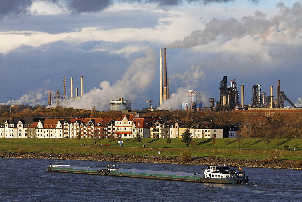 Row of houses on the bank of the river Rhine at Laar, in front of ThyssenKrupp steel works Meiderich/Beek, Duisburg, NRW, Germany