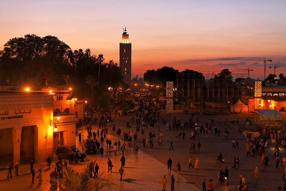 Sunset at Djemaa el-Fna, Koutoubia view, Marrakech, Morocco, Africa