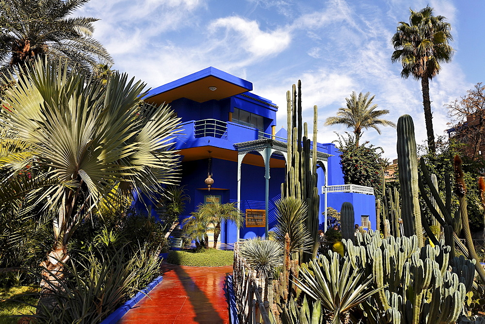 Shining blue mansion, Jardin Majorelle, Marrakech, Morocco, Africa
