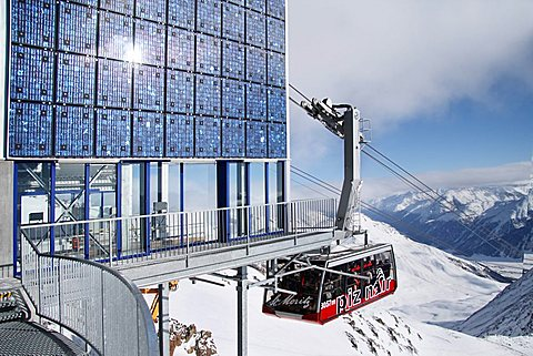 Piz Nair cable car station, photovoltaic system, solar cells, high mountains, Switzerland, Europe - 832-3223
