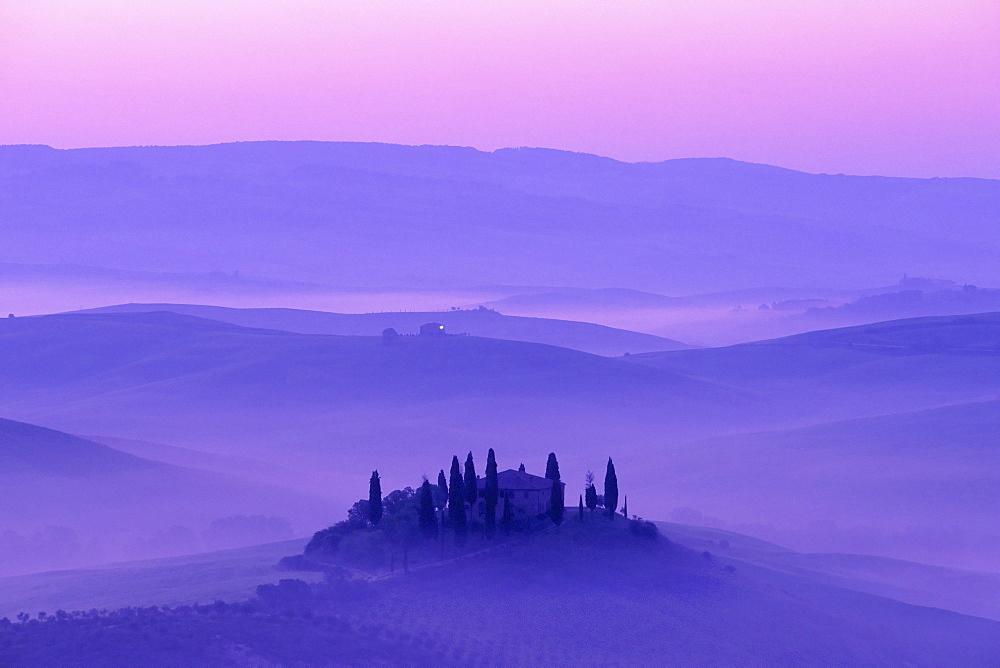 Morning mist over Rodere Belvedere in Tuscany